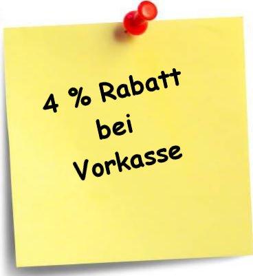 4% Rabatt bei Vorkasse